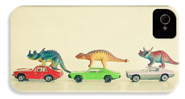 Dinosaurs Ride Cars IPhone 4 Case by Cassia Beck
