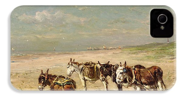 Donkeys On The Beach IPhone 4 / 4s Case by Johannes Hubertus Leonardus de Haas
