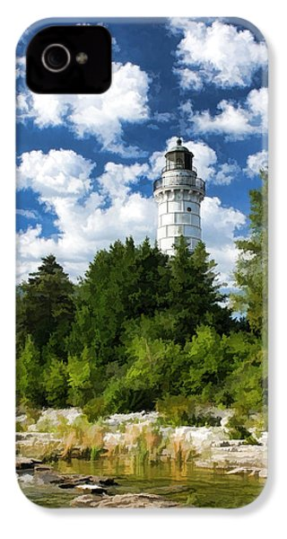 Cana Island Lighthouse Cloudscape In Door County IPhone 4 Case by Christopher Arndt