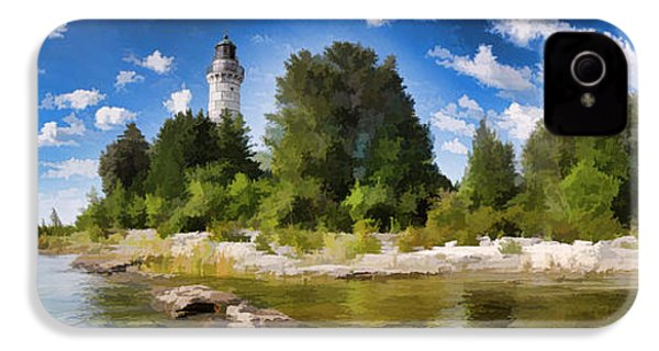 Door County Cana Island Lighthouse Panorama IPhone 4 Case by Christopher Arndt