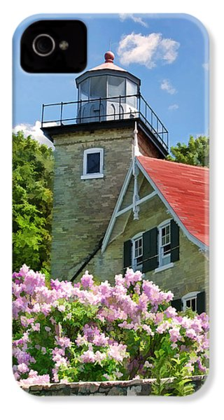 Door County Eagle Bluff Lighthouse Lilacs IPhone 4 Case by Christopher Arndt
