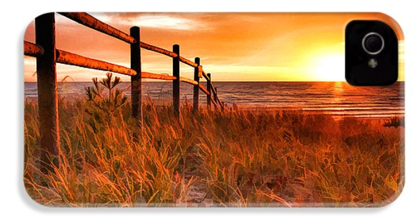 Door County Europe Bay Fence Sunrise IPhone 4 Case by Christopher Arndt