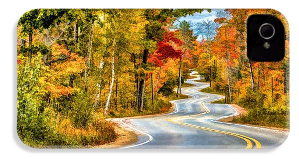 Door County Road To Northport In Autumn IPhone 4 Case by Christopher Arndt