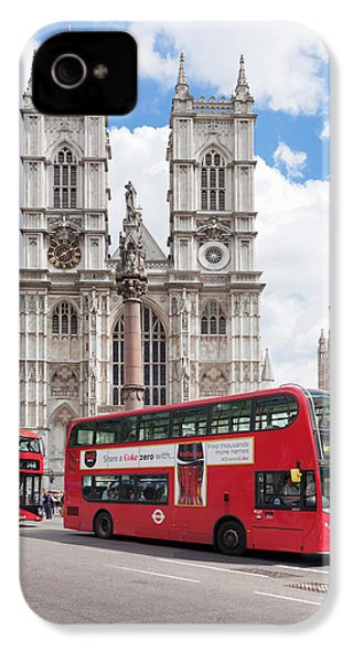 Double-decker Buses Passing IPhone 4 Case by Panoramic Images