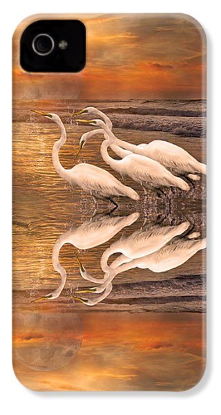 Dreaming Of Egrets By The Sea Reflection IPhone 4 Case by Betsy Knapp