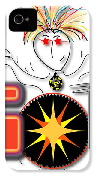 IPhone 4 Case featuring the drawing Drummer Spike by Marvin Blaine