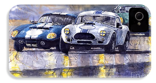Duel Ac Cobra And Shelby Daytona Coupe 1965 IPhone 4 Case by Yuriy  Shevchuk
