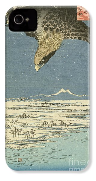 Eagle Over One Hundred Thousand Acre Plain At Susaki IPhone 4 Case by Hiroshige