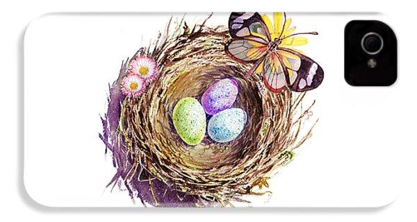 Easter Colors Bird Nest IPhone 4 / 4s Case by Irina Sztukowski