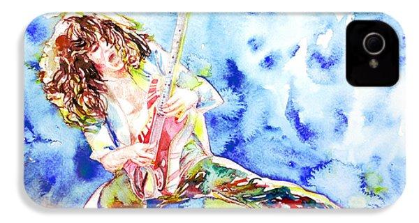 Eddie Van Halen Playing The Guitar.1 Watercolor Portrait IPhone 4 Case by Fabrizio Cassetta
