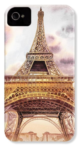 IPhone 4 Case featuring the painting Eiffel Tower Vintage Art by Irina Sztukowski
