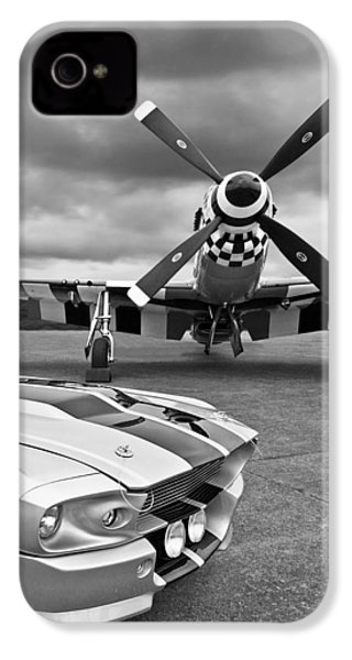 Eleanor Mustang With P51 Black And White IPhone 4 Case by Gill Billington