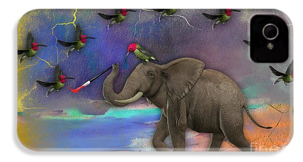 Elephant Painting Birds Out Of Thin Air. IPhone 4 Case by Marvin Blaine