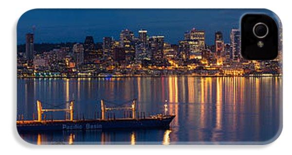 Elliott Bay Seattle Skyline Night Reflections  IPhone 4 Case