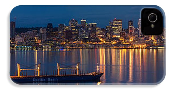Elliott Bay Seattle Skyline Night Reflections  IPhone 4 Case by Mike Reid