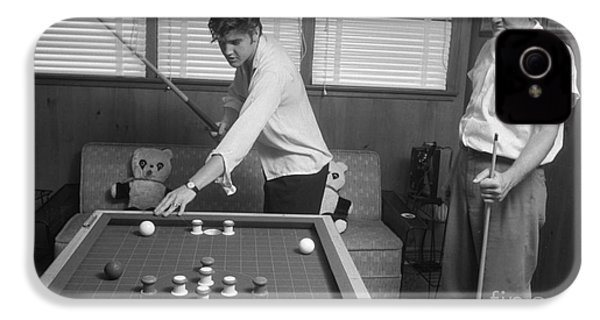 Elvis Presley And Vernon Playing Bumper Pool 1956 IPhone 4 Case by The Harrington Collection