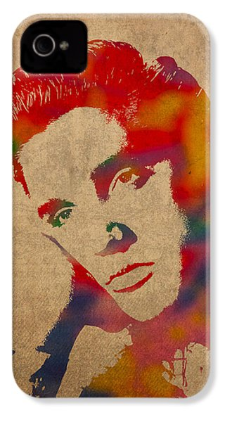 Elvis Presley Watercolor Portrait On Worn Distressed Canvas IPhone 4 Case by Design Turnpike