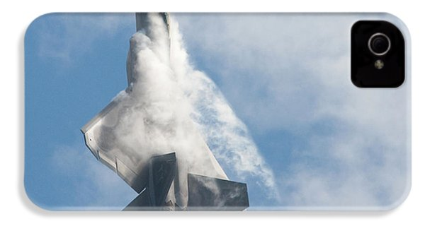 IPhone 4 Case featuring the photograph F-22 Raptor Creates Its Own Cloud Camouflage by Nathan Rupert