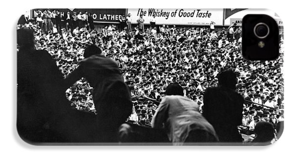 Fans In The Bleachers During A Baseball Game At Yankee Stadium IPhone 4 Case by Underwood Archives