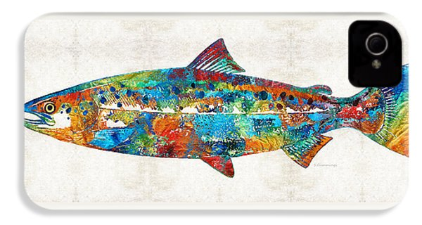 Fish Art Print - Colorful Salmon - By Sharon Cummings IPhone 4 Case by Sharon Cummings