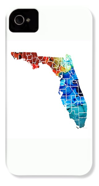 Florida - Map By Counties Sharon Cummings Art IPhone 4 Case