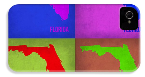Florida Pop Art Map 1 IPhone 4 Case by Naxart Studio