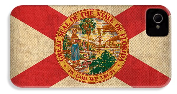 Florida State Flag Art On Worn Canvas IPhone 4 Case by Design Turnpike