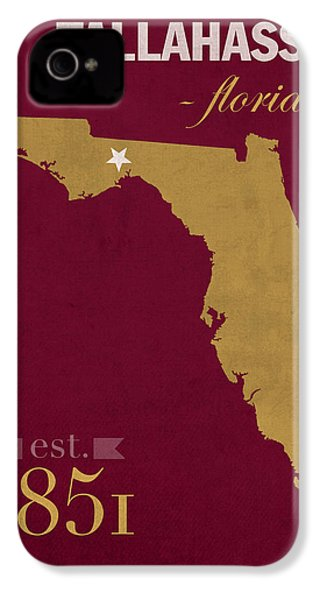 Florida State University Seminoles Tallahassee Florida Town State Map Poster Series No 039 IPhone 4 / 4s Case by Design Turnpike
