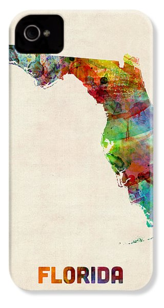 Florida Watercolor Map IPhone 4 Case by Michael Tompsett