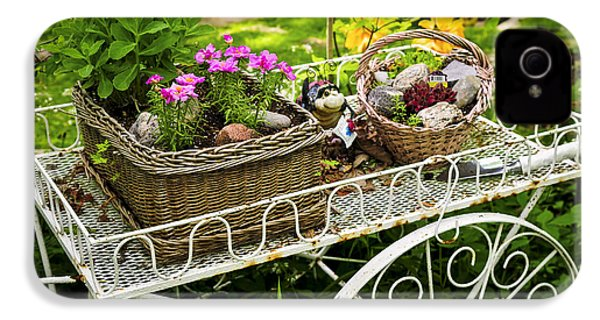 Flower Cart In Garden IPhone 4 / 4s Case by Elena Elisseeva