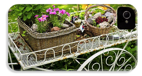Flower Cart In Garden IPhone 4 Case by Elena Elisseeva