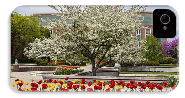 Flowers And Tree At Michigan State University  IPhone 4 Case by John McGraw