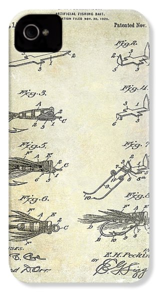 1922 Fly Fishing Lure Patent Drawing IPhone 4 Case