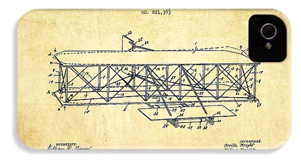 Flying Machine Patent Drawing From 1906 - Vintage IPhone 4 Case by Aged Pixel