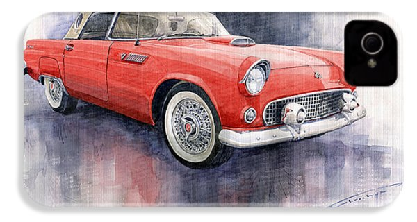Ford Thunderbird 1955 Red IPhone 4 Case by Yuriy  Shevchuk