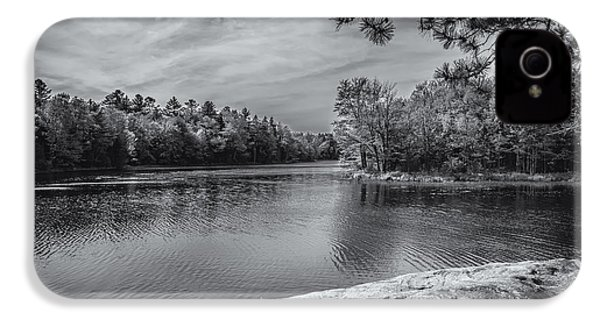 IPhone 4 Case featuring the photograph Fork In River Bw by Mark Myhaver