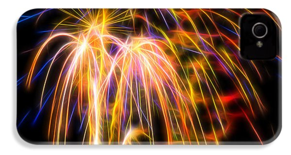 IPhone 4 Case featuring the photograph Colorful Fractal Fireworks #1 by Yulia Kazansky