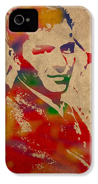 Frank Sinatra Watercolor Portrait On Worn Distressed Canvas IPhone 4 Case