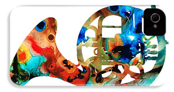 French Horn - Colorful Music By Sharon Cummings IPhone 4 / 4s Case by Sharon Cummings