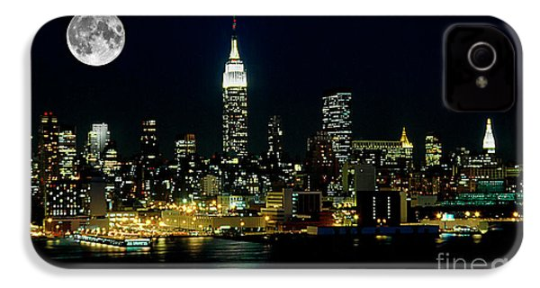 Full Moon Rising - New York City IPhone 4 / 4s Case by Anthony Sacco