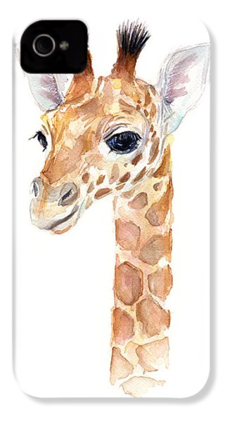 Giraffe Watercolor IPhone 4 Case by Olga Shvartsur