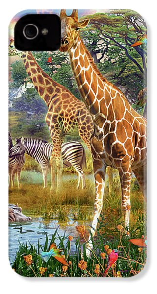 IPhone 4 Case featuring the drawing Giraffes by Jan Patrik Krasny