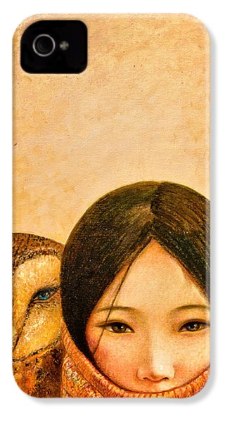 Girl With Owl IPhone 4 Case by Shijun Munns