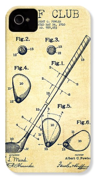 Golf Club Patent Drawing From 1910 - Vintage IPhone 4 Case