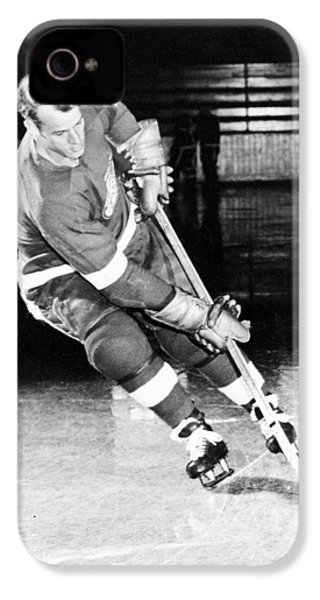 Gordie Howe Skating With The Puck IPhone 4 Case by Gianfranco Weiss