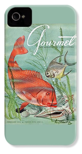 Gourmet Cover Featuring A Snapper And Pompano IPhone 4 Case by Henry Stahlhut