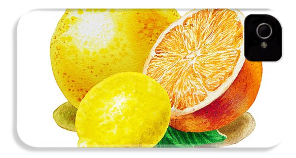 IPhone 4 Case featuring the painting Grapefruit Lemon Orange by Irina Sztukowski