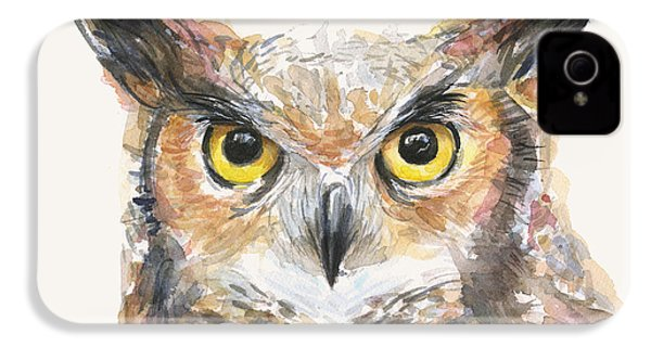 Great Horned Owl Watercolor IPhone 4 Case by Olga Shvartsur