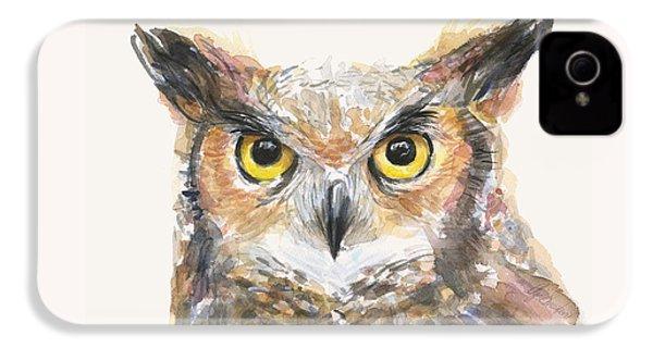 Great Horned Owl Watercolor IPhone 4 Case by Olga Shvartsur