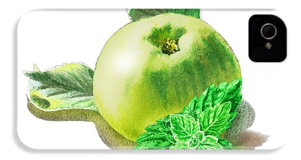 IPhone 4 Case featuring the painting Green Apple And Mint Happy Union by Irina Sztukowski